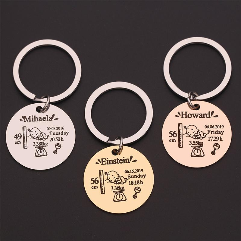 Round Baby Keychain Personalized Name Date Of Birth Weight Time Height For Newborn Commemorate Exclusive Key Ring Charm Gifts