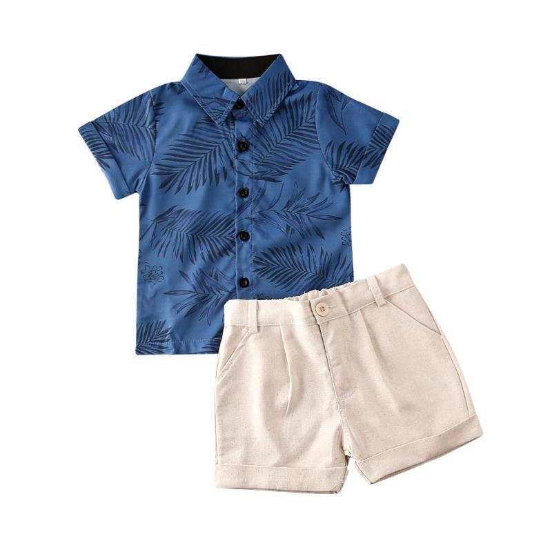 Nouveau 2020 Été Tout-petit Enfant Vêtements bébé garçon Set Feuilles Gentleman manches courtes T-shirt Hauts 2pcs Shorts Outfit Costume Vêtements