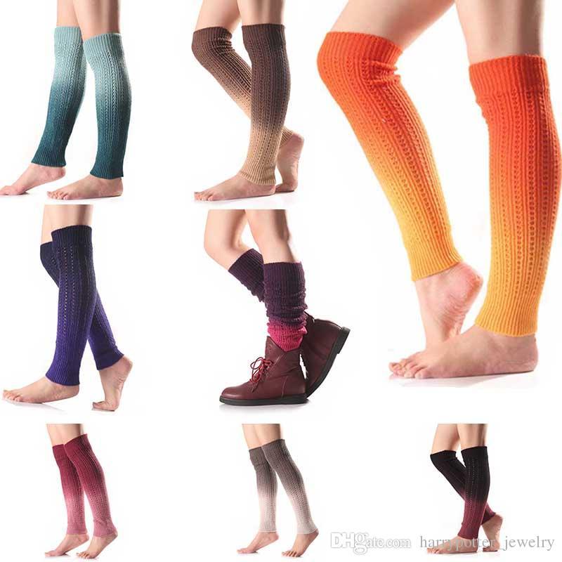 Mulheres Moda meias inverno quente Polainas malha Scoks crochê as botas longas Meias clássico Knitting Leg Warmer transporte da gota nova chegada