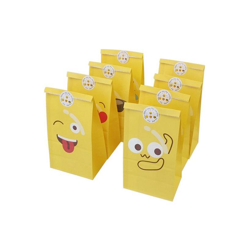 8pcs / Définir une expression Mignon Sacs Bonbons alimentaires de fête d'anniversaire Décorations enfants Kraft sac de papier cadeau WB1850