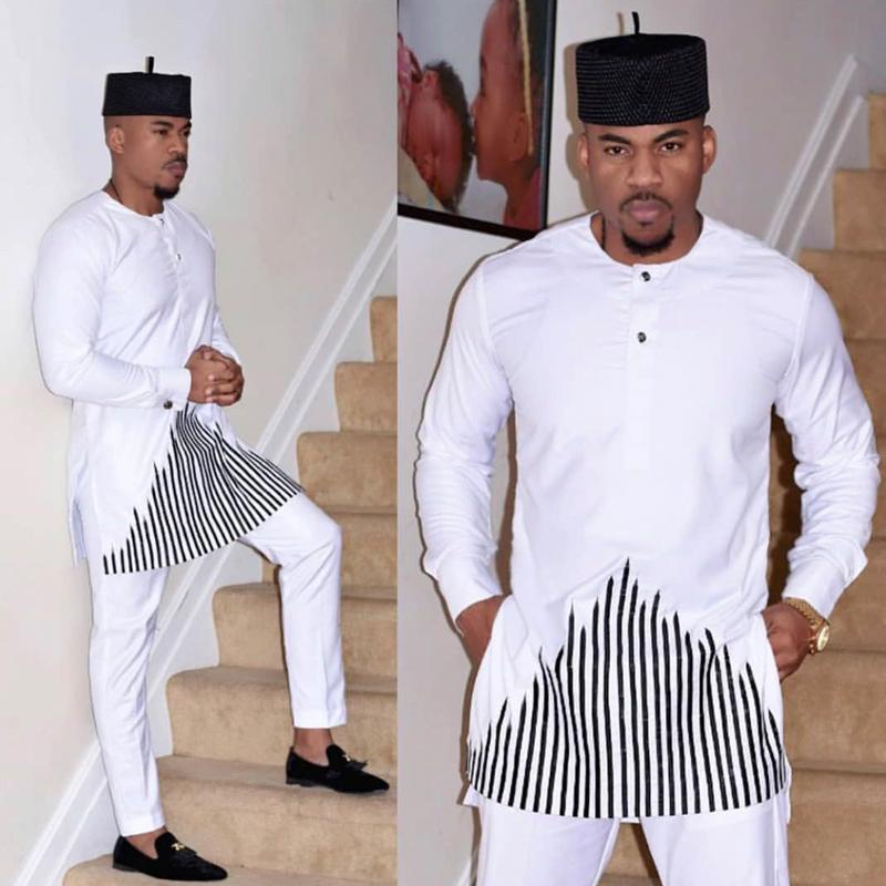 Abbigliamento etnico HD 2021 African Dashiki Abbigliamento per uomo Nessun tappo Pantaloni da camicia Set ricamo Top Pantaloni Vestito da uomo Tradizionale