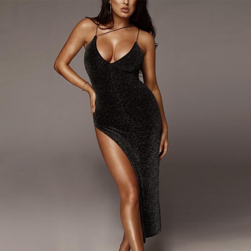Летний женский дизайнер Сплит платья Sexy Scoop шеи платье без рукавов Мода Твердые цвета Платье-футляр