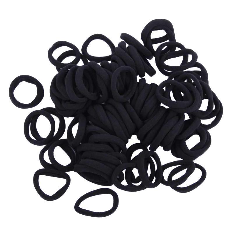 100pcs / lot schwarze elastische Haar-Riegel-Kind-Mädchen-Haar-Band-Seil-Pferdeschwanz-Halter Scrunchie Bandagen Zubehör Drop Shipping