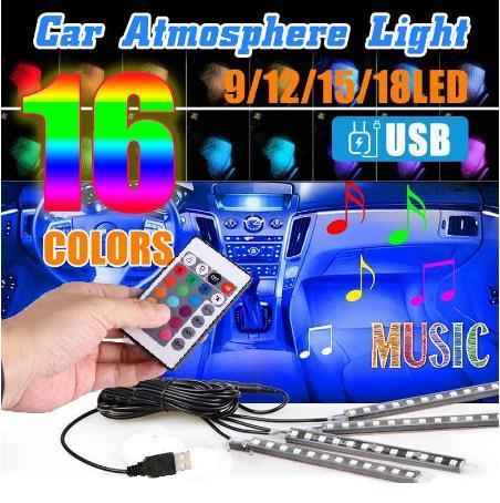 4PCS 36/48/60/72 5050 SMD USB سيارة RGB LED قطاع الخفيفة ألوان 16 DJ الموسيقى السيارات التصميم الديكور أجواء مصابيح السيارات الخفيفة الداخلية