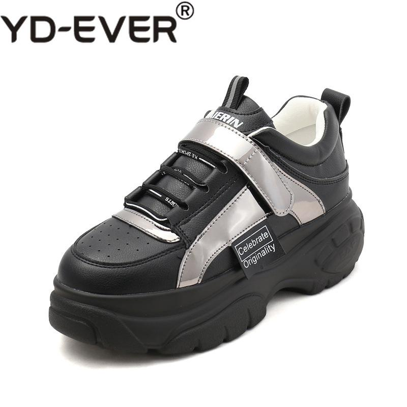 0d31f24dd5e 2019 Spring Laser Chunky Sneakers Women Thick Sole Leather Platform Shoes  Harajuku Dad Shoes Fashion Tenis Female White Sneakers Comfort Shoes ...