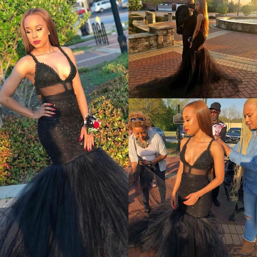 Sexy Black Mermaid Prom Dresses 2020 Spaghetti Straps Lace Applique Sequins Black Girls Evening Dress Homecoming Formal Party Dresses