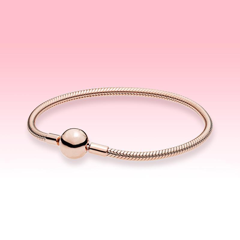 Mulheres homens 18k rosa banhado a ouro bracelete DIY encantos de cadeia de mão para Pandora 925 Momentos de Prata pulseira de cadeia de cobra com caixa original