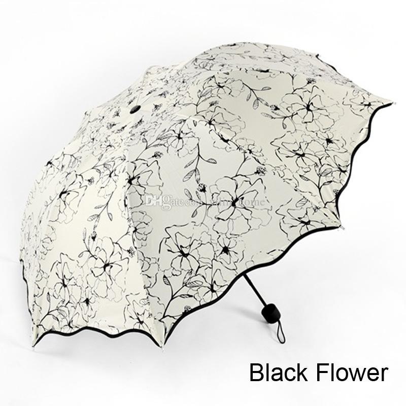 꽃 접는 우산 햇살과 우천 우산 6 색은 무료 배송을 선택할 수 있습니다