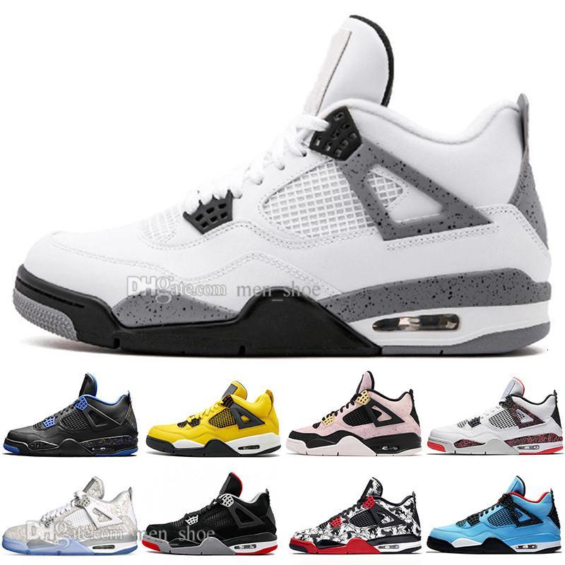 Con la caja superior más nuevos baratos Bred 4 4s lo que los zapatos Cactus Jack láser Alas de baloncesto del Mens Eminem pálido Citron Hombres Deportes zapatillas de deporte de diseño