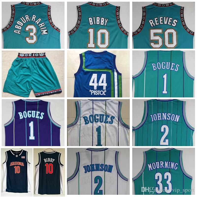 NCAA Basketball Michael Mike Bibby Trikot Shareef Abdur Rahim Bryant Reeves Muggsy Bogues Larry Johnson Alonzo Trauerpistole Pete Maravich