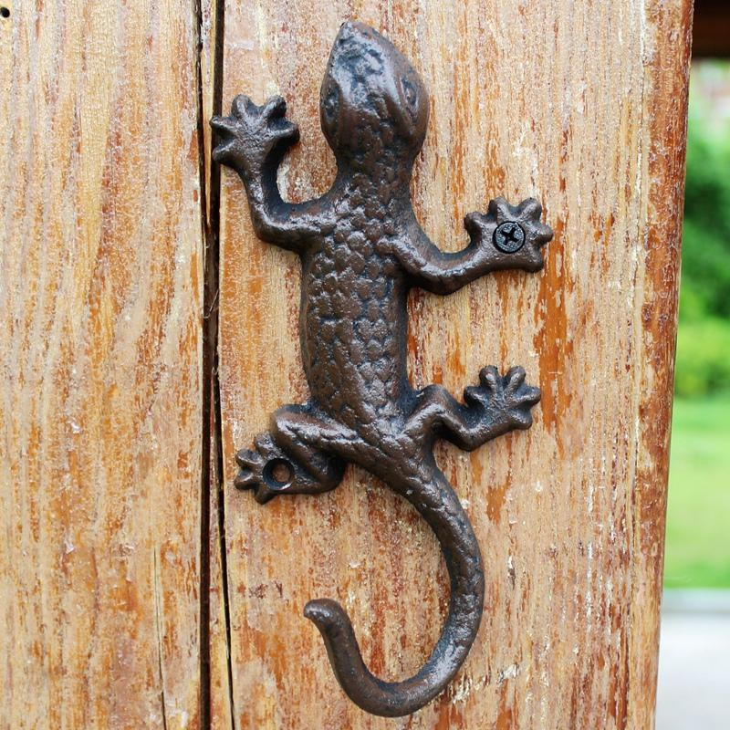 6 Pieces Cast Iron Gecko Hook Wall Mount Hanger Towel Coat Hat Keys Holder Storage Home Cottage Door Rack Vintage Rustic Brown lizard Retro