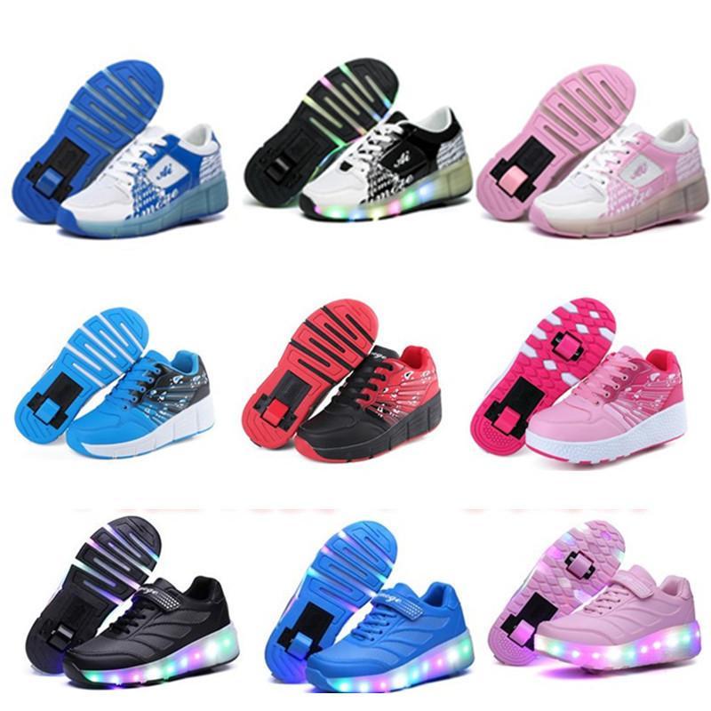 2018 어린이 재즈 Heelys, 주니어 Girlsboys Led 라이트 Heelys, 어린이 롤러 스케이트 신발, 어린이 스 니 커 즈 바퀴 21 색상 Y19061906