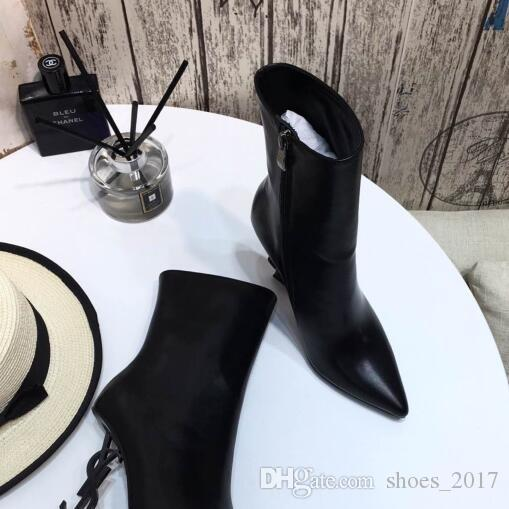 최고 품질 뾰족한 발가락 여자 가죽 발목 부츠 블랙 스릴 편지 발 뒤꿈치 펌프 여자 굽 높은 드레스 웨딩 신부 신발