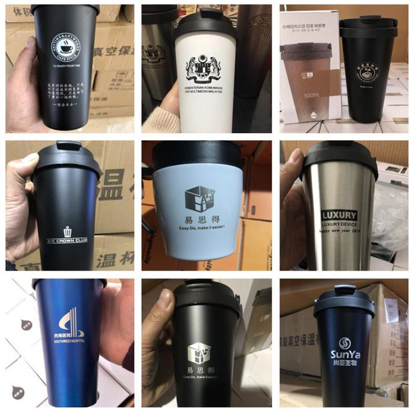 Free Shipping 500ML 304 stainless steel coffee cup portable lifting ring gradient color double vacuum coffee Tumbler custom logo T2702