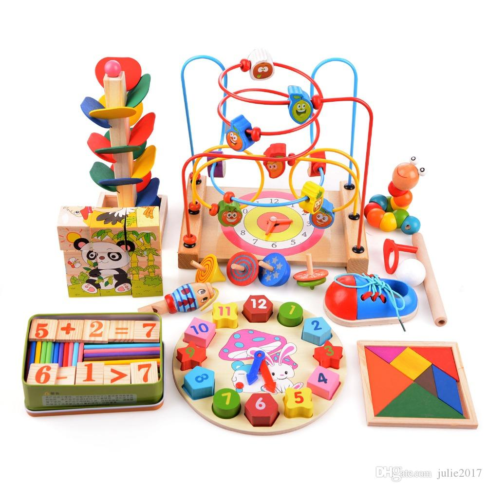14pcs/set Wooden Counting Three-Dimensional Jigsaw Round Circles Bead Wire Maze Roller Coaster Toy Child Baby Early Educational Toys