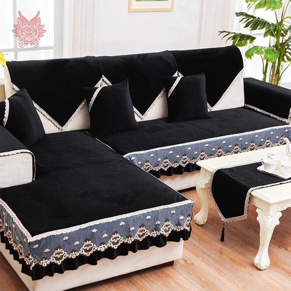 Nave libera mobili neri divano copertina di velluto rosso in pile slipcovers divano componibile copre per fundas divano del soggiorno SP4879 de