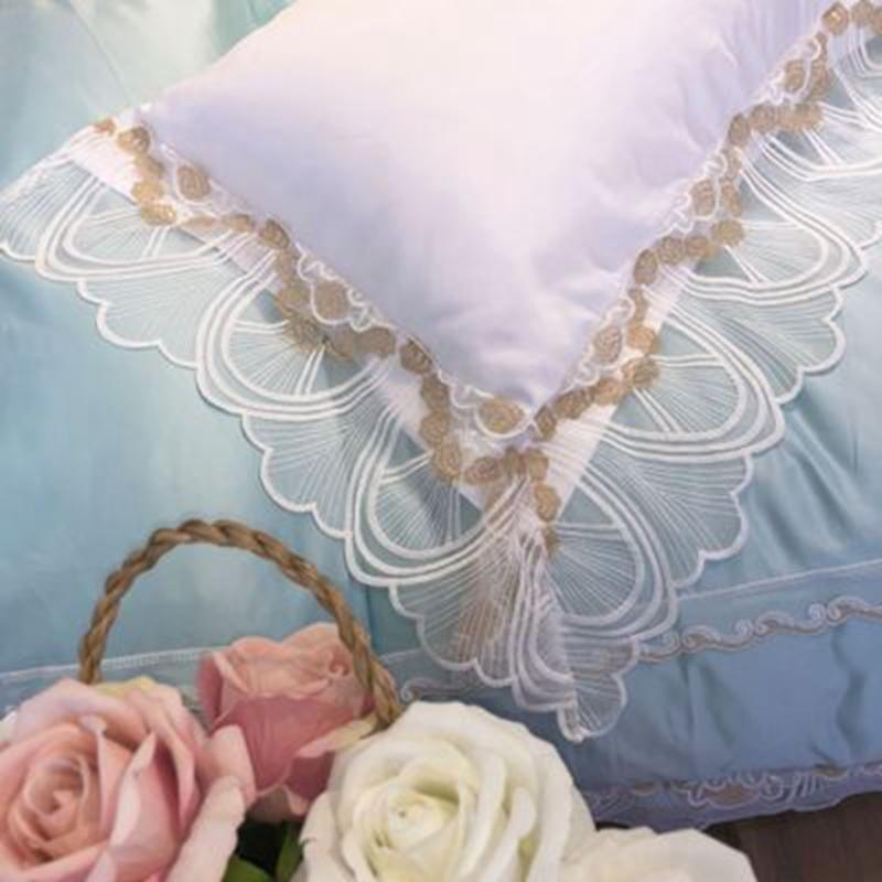 New Arrival 200*230cm Embroidery Silk Lace Four-Piece Set White Romantic Gauze Sheet And Duvet Cover Pillowcase