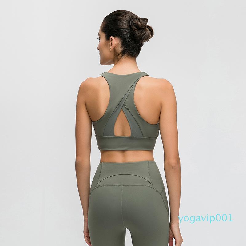 Spor Üst Yelek Güzellik BackTriangle Hollow Out Spor Bra Top Şok Korumalı Buluşması Yüksek Yoğunluk Spor Yoga İç Spor Sütyen