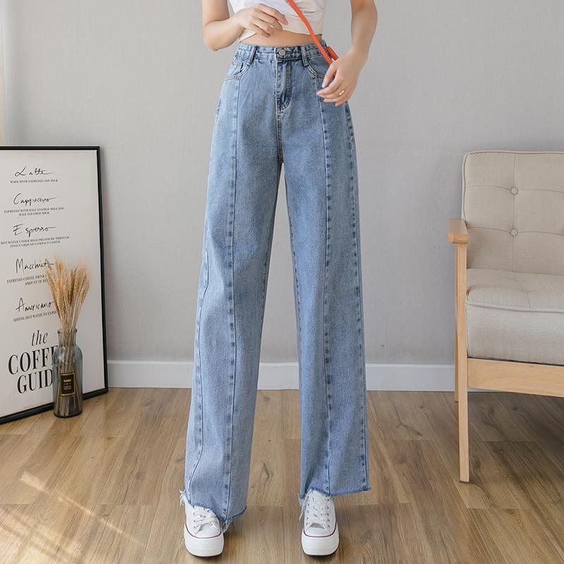 Женские джинсы свободные для девочек высокой талии вспышки славы с каналами хлопка женщин