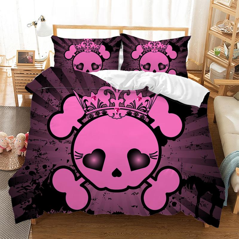 Fanaijia 3D Sugar Skull Bedding Set King Size Pink Skull Duvet Cover Set with Pillowcase bed comforter