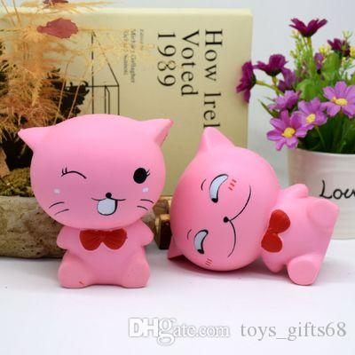 Cute Squishy PU slow rebound toy simulation bow tie cat decompression pinch cat toy childhood education gift