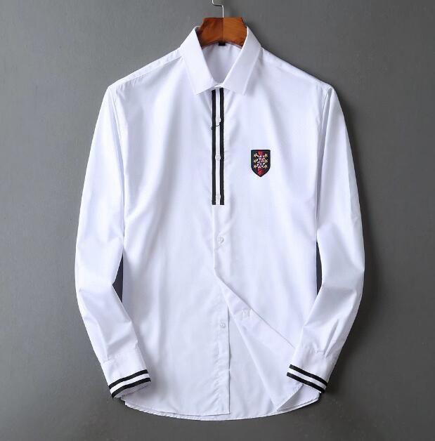 manga larga del vestido de los hombres de algodón mercerizado camisa de trabajo de talla grande color sólido no - planchar la camisa
