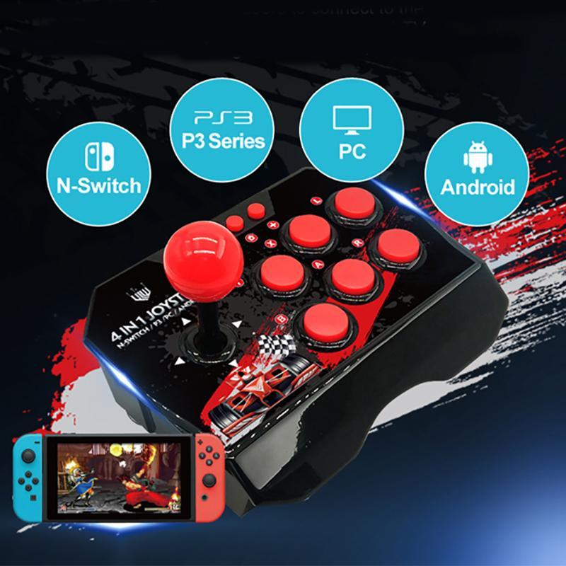 Nintend에 대한 PS3를위한 조이스틱 스틱 파이팅 4에서 1 개 USB 유선 게임 컨트롤러 아케이드 안드로이드 TV 10 버튼에 대한 PC 게임 패드 스위치