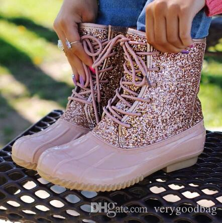 PVC Ankle Boots Jelly Shoes 2020 Women Sexy Bling Sequin Female Water Shoes Lace Up Boots For Women Sandals