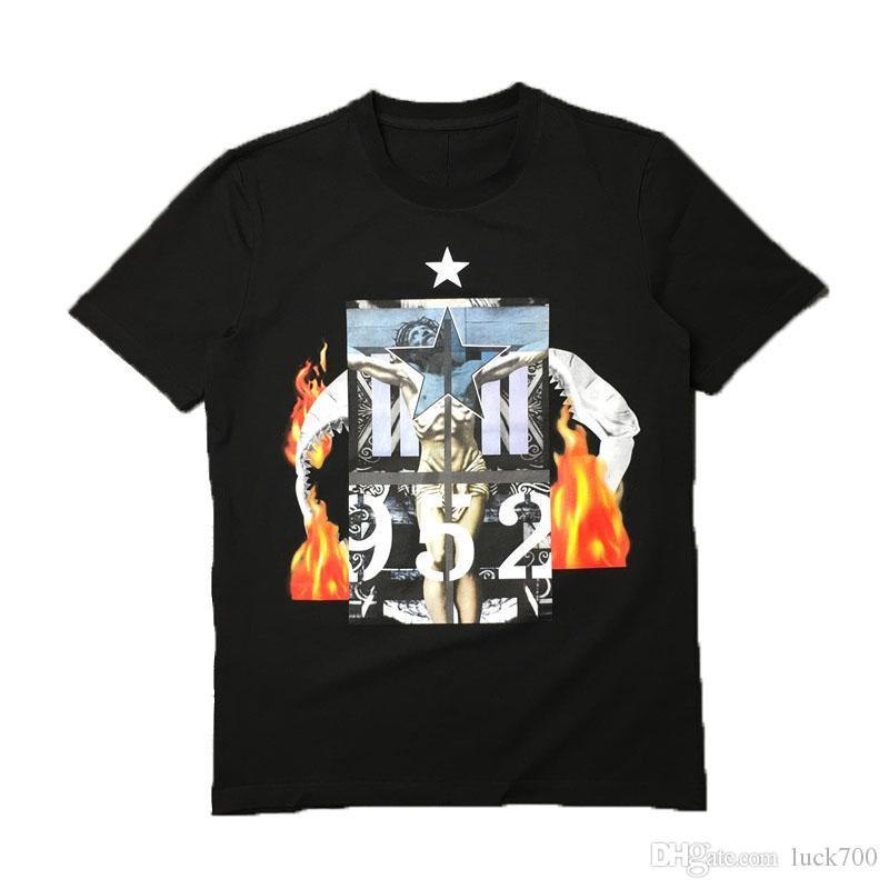 19SS Europa París moda de lujo para hombre camiseta de Hip Hop de los hombres de moda de las mujeres de manga corta camisetas Negro Tamaño M-2XL
