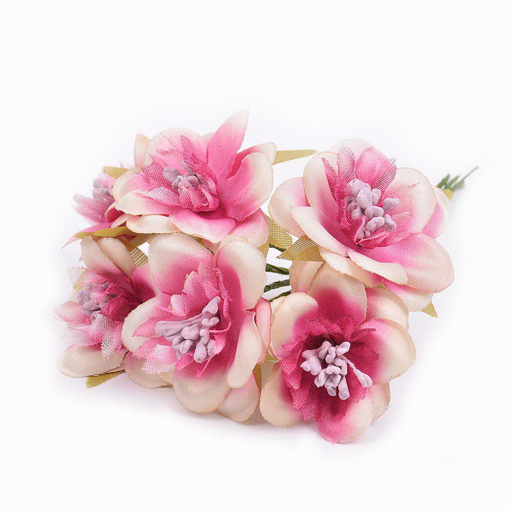 6pcs/lot New Silk Gradient Cherry Artificial Flowers For Wedding Home Decoration Diy Handcraft Gift Wreath Scrapbook Fake Flower