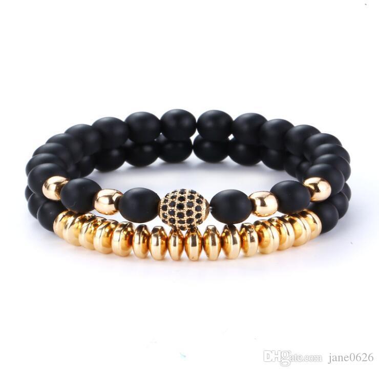 2 Pcs Set Natural Lava Rock Stone Essential Oil Diffuser Bracelet Elastic Yoga Agate Beads Healing Energy Gemstone Bangle