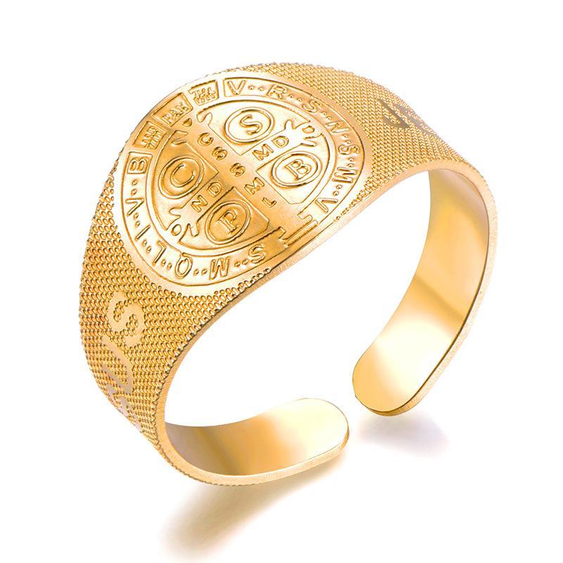 2020 Punk Bento st marca do New Mulheres Golden Shield elegante anel de jóias por atacado presente Hip Hop-B-Box Estilo Titanium Aço Inoxidável