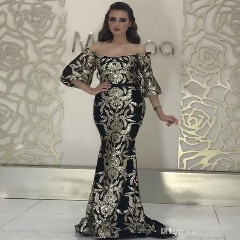 Elegantes prata sereia Vestidos Formais 2019 Prom vestidos Traje a Rigor Plus Size lantejoulas Abendkleider Yousef aljasmi