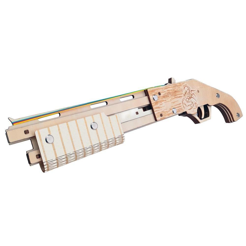 Резинкой пушки вырезывания 3D деревянные сборки головоломки комплект резьба по дереву Стрельба из игрушечных пистолетов мальчишки Y200413