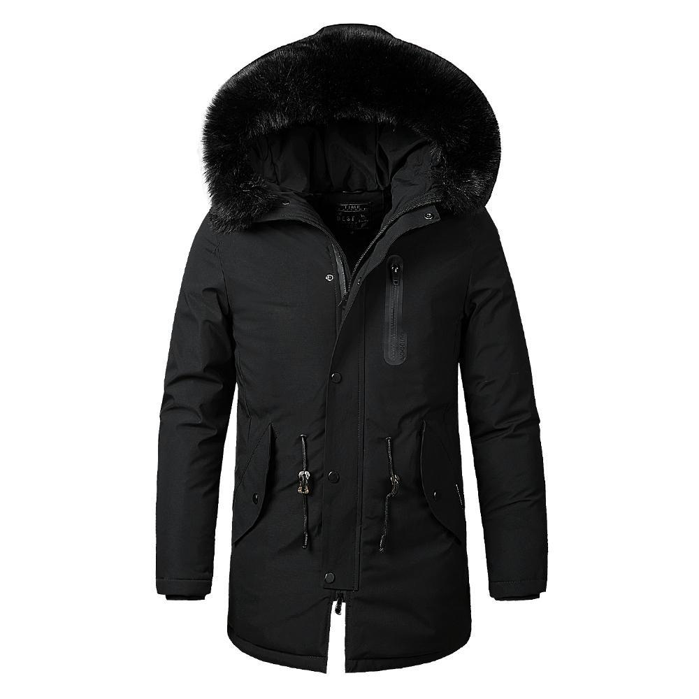 Men Winter New Warm Fur Collar Long Thick Cotton Casual Parkas Jacket Coat Men Brand Pockets Outwear Waterproof Jacket Parka Men MX200319