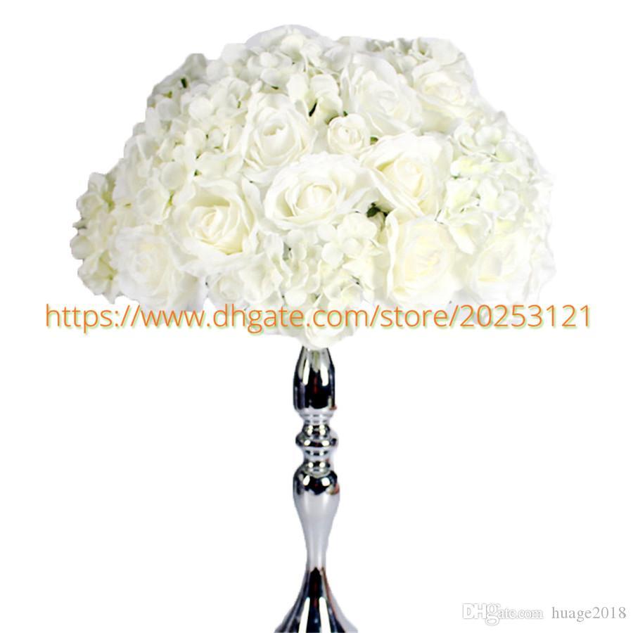 Collar artificial de la boda de la flor 3D blanco Corona de mesa Centros Road Flower bola de la boda Flor YHC1025