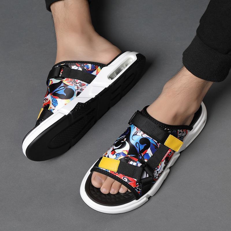 Hot Sale-Air chinelos almofada Homens chinelo massagem férias com novidade sola macia chinelo sapatos ocos de chinelos desenhos animados verão zy409