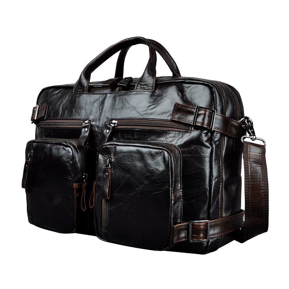 "Genuine Leather Man Design Multifunction Purpose Maletas Maletin Business Briefcase 15"" Laptop Bag Tote Portfolio Bag K1013 Y19051802"