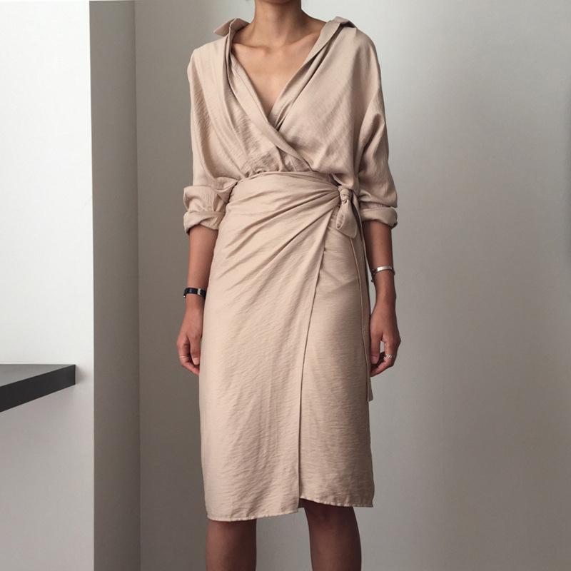 여성의 드레스 리넨 코튼 섹시한 V 넥 베이지 색 긴 소매 제국 붕대 드레스 중순 송아지 느슨한 사무실 여성 드레스 vestidos