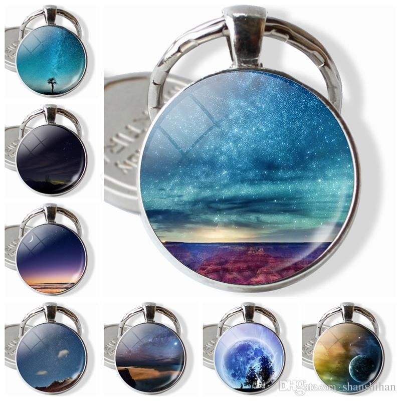 2019 Maravillosa y hermosa Naturaleza Joyería Llaveros Nebulosa Cúpula de cristal Pendnat Llavero El mejor regalo para la muchacha mujer