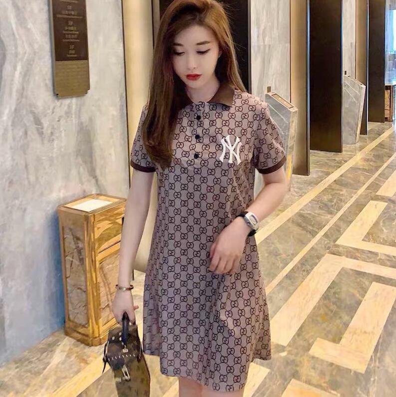 Mulheres novo estilo de vestido de 2020, NY bordados conjunta, camisa pólo, vestido fino no longo faltando celebridade metade inferior web T-shirt da forma das mulheres