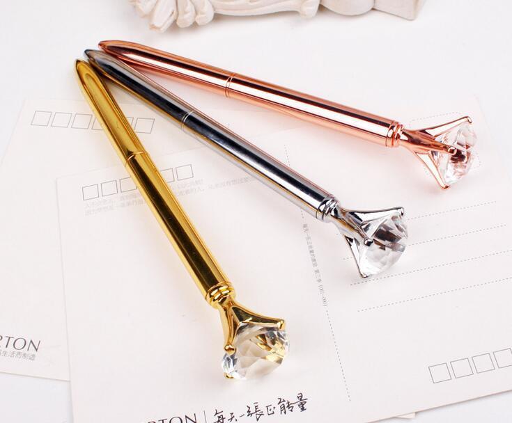 Escritório Escola presente criativo Big diamante de cristal canetas esferográficas de metal Fantasia Cristal Pen Student Suprimentos canetas de luxo