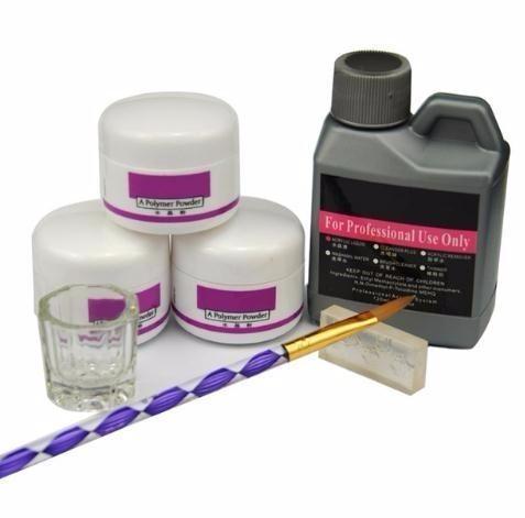 7 Pçs / set Acrílico Pó Acrílico Prego Kit Polímero de Cristal Acrílico Para O Conjunto Para Manicure Precisa Uv Lâmpada Nail Art Brush
