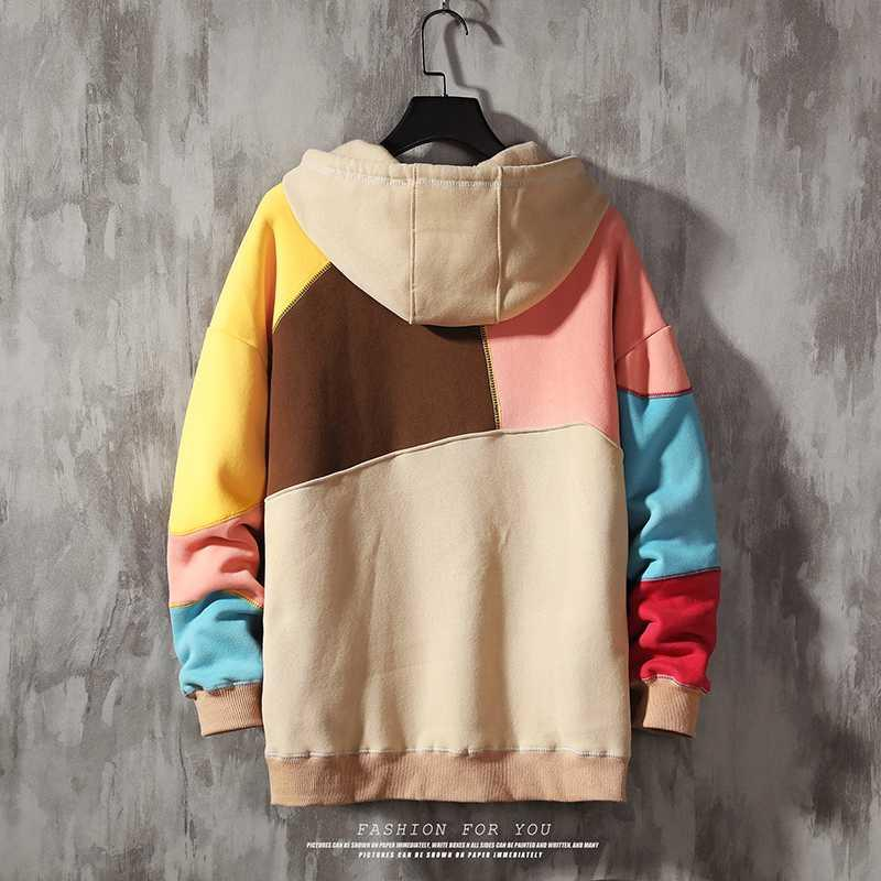 Patchwork Style Autumn Spring 2020 Hoodie Sweatshirt Mens Hip Hop Punk Pullover Streetwear Casual Fashion Clothes
