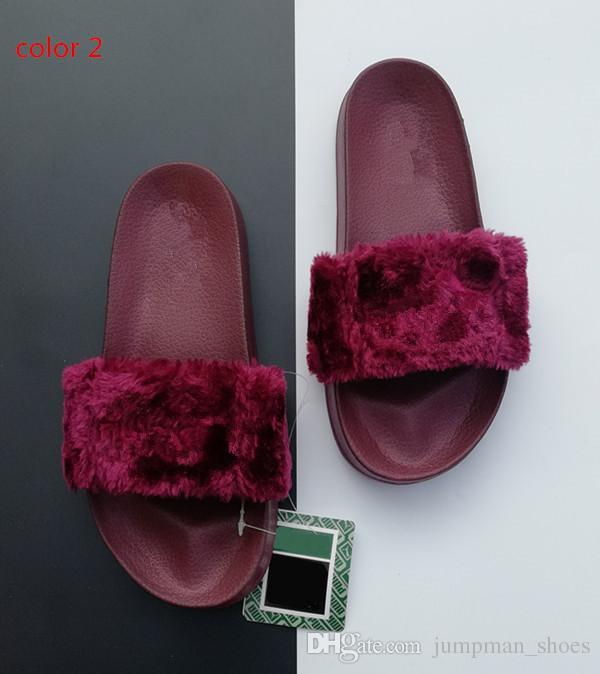Leadcat Fenty Rihanna Faux Fur Slippers Women Girls Sandals Fashion Scuffs Black Pink Red Grey Blue Fenty Slides Designer Slippers