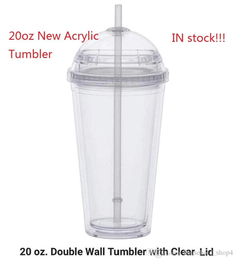 Custom 20oz Acrylic Tumbler Cold Drink Cup Insulated Double Wall Tumbler With Clear Lid Reusable Straw