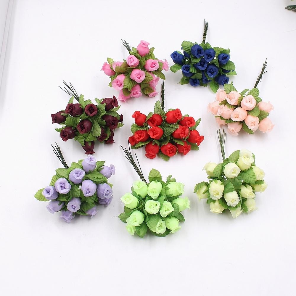 12pcs/lot Artificial Flower 2cm Silk High Quality Rose Bouquet Wedding Decoration Diy Scrapbook Wreath Gift Box Craft Flower