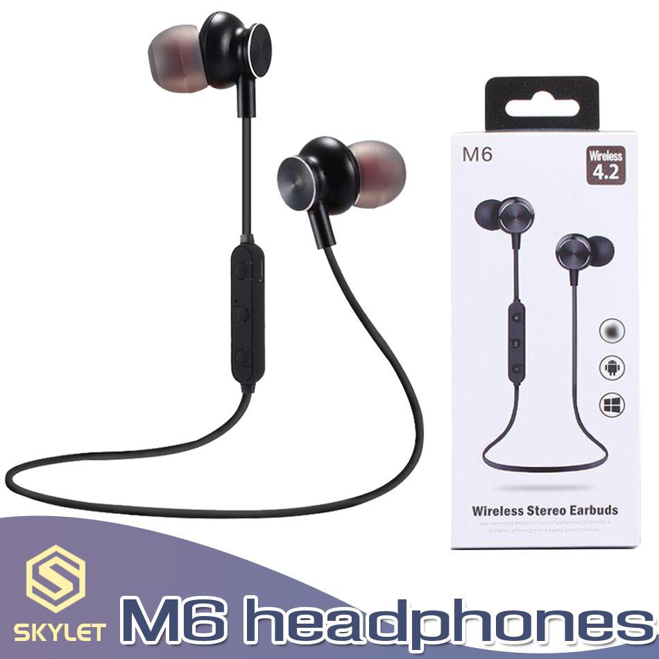 M6 fone de ouvido bluetooth esporte fone de ouvido sem fio magnético sem fio fones de ouvido com microfone estéreo handfree fones de ouvido para xiaomi samsung com caixa de varejo