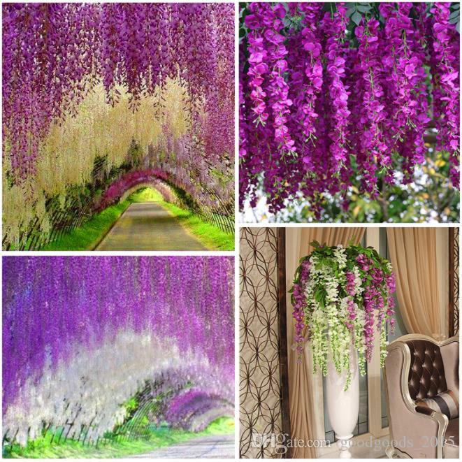Wedding Decor Artificial Silk Wisteria Flower Vines hanging Rattan Bride flowers Garland For Home Garden Hotel DLH309