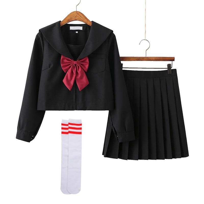 École Robes Jk Uniformes Sailor Costume école Anime Uniforme japonais haut cosplay costume court Jupe plissée avec Bow